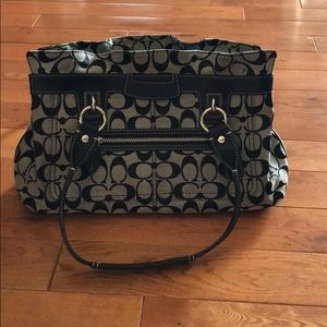Grey and Black Coach Purse